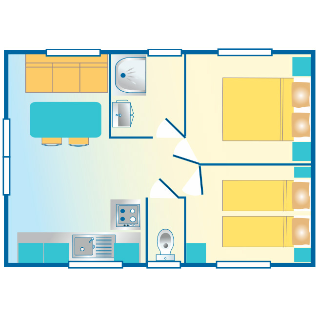 mobil home Aquitaine : cosy plan